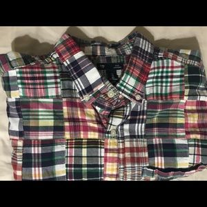 Gap Short Sleeved, Plaid Quilted Button Down Shirt